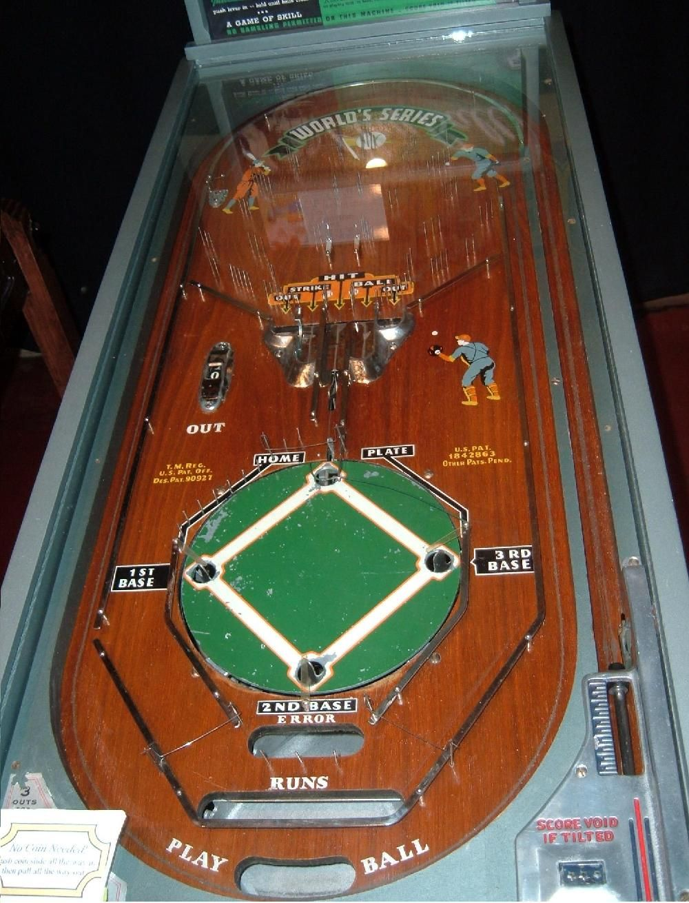 1934 Rockola World Series Play Ball Baseball Pinball Machine Arcade Game