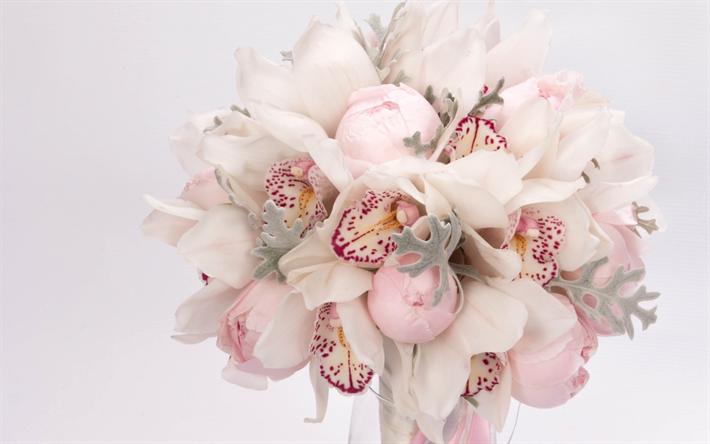 Peonie Bouquet Da Sposa.Scarica Sfondi Bouquet Di Nozze Rosa Orchidee Peonie Bouquet