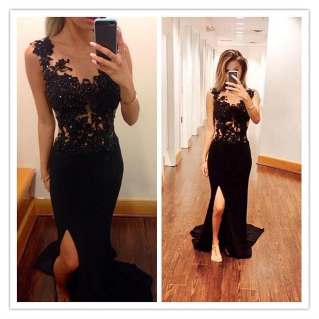 Black long sexy mermaid side slit backless lace prom dressespd