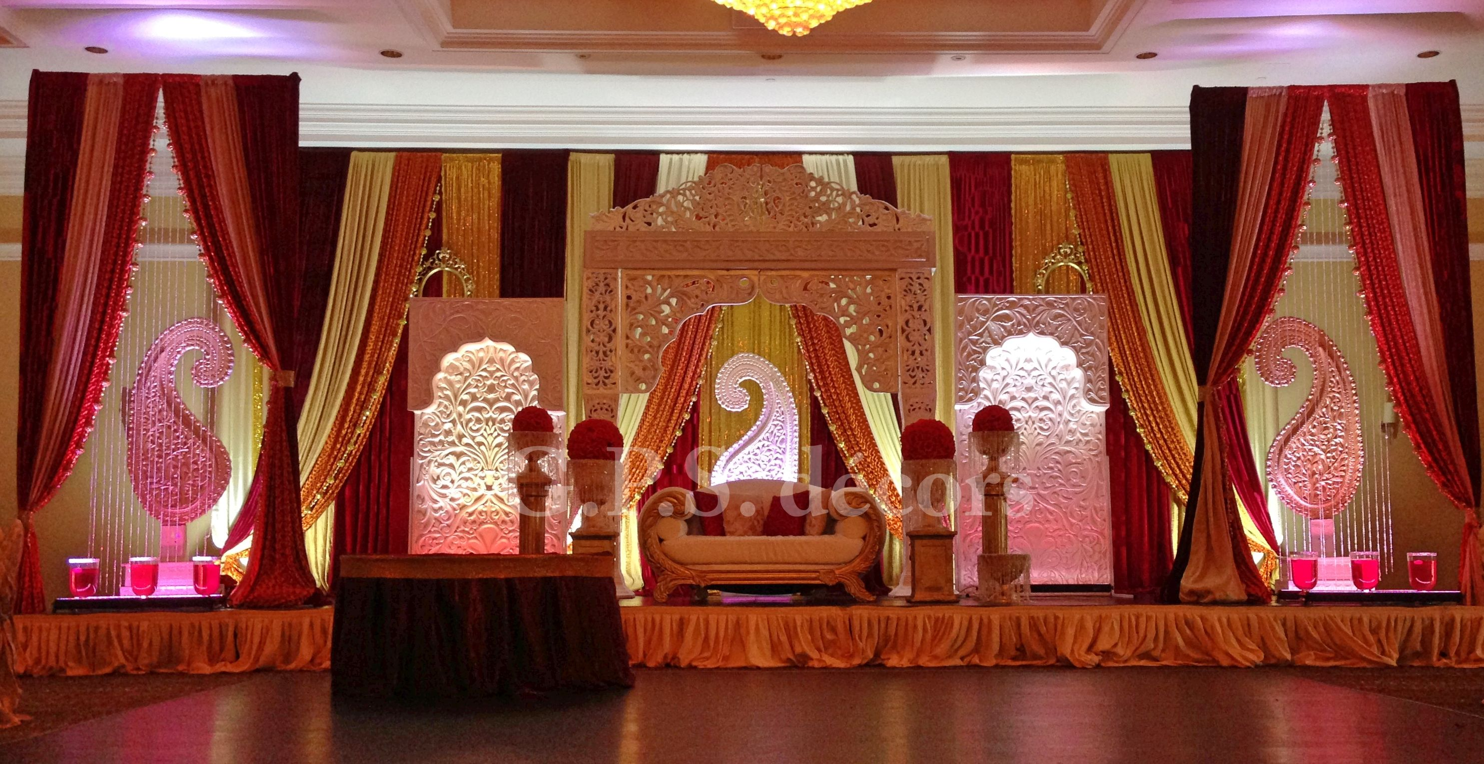 Mughal wedding reception theme shaadi decor for Background decoration for indian wedding