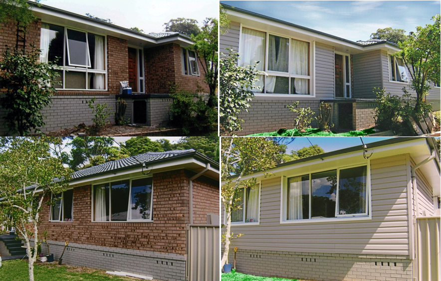 Images of brick painted grey before and after austech - Exterior plastic cladding for houses ...