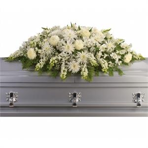 Enduring Light Casket Spray Casket Flowers The Sympathy Store Casket Sprays Casket Flowers Funeral Flowers