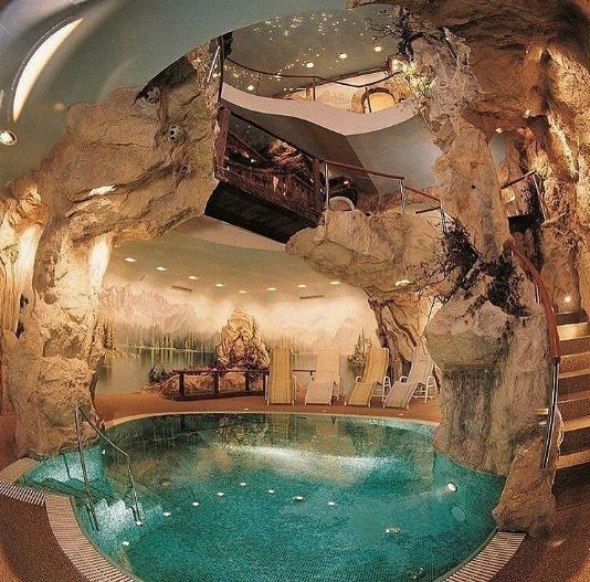9 A Cave Style Basement With A Pool Dream Pools Unusual Homes Indoor Pool