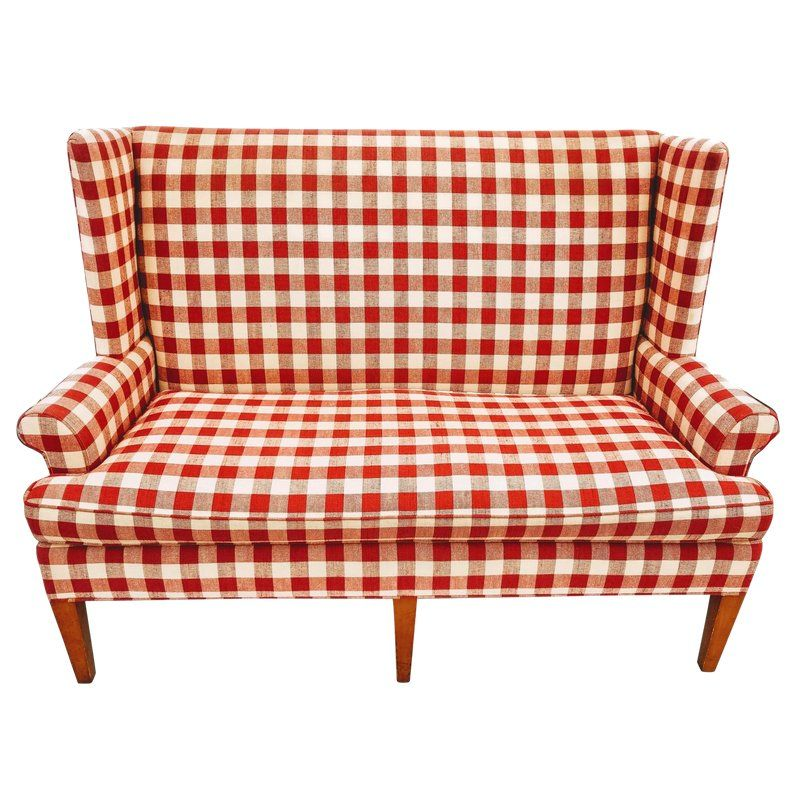 Vintage Wingback Red Gingham Check Love Seat by Hickory Tavern a ...