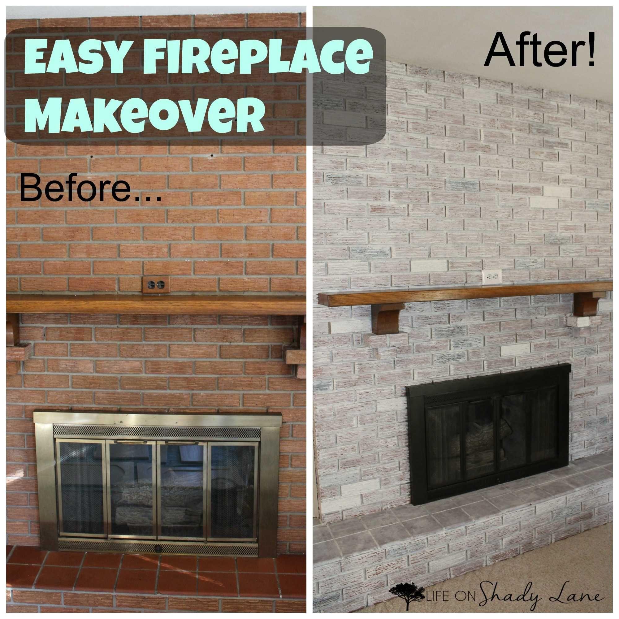 Luxury Whitewash Brown Brick Fireplace Fireplace Remodel