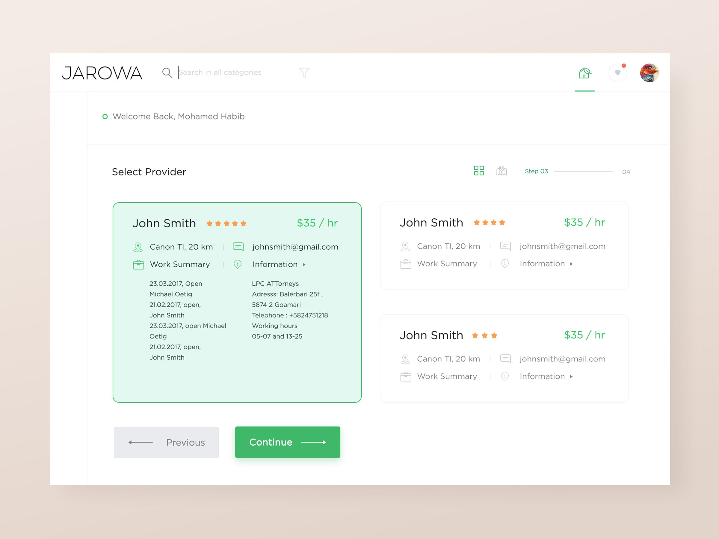 Select Provider Hover Preview Co Working Inspiracao
