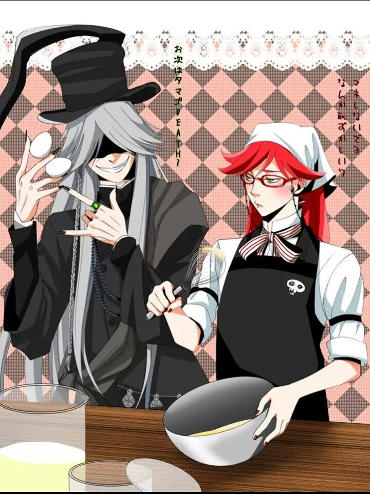 Black Butler Lets Bake Undertaker X Grell Check Out The Little Skull On Grells Apron Kawaii