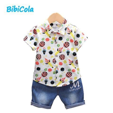 ddf39d8d7dca BibiCola summer baby boys clothing set toddler children 2pcs retro ...