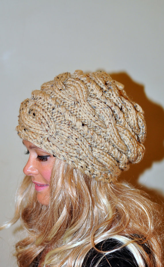 2b147860e7f Slouchy Beanie Slouch Hat Cabled Braided Hand Knit Winter Women Hat Adult  CHOOSE COLOR Oatmeal Honey Naturel Cable Knit Hat Christmas Gift