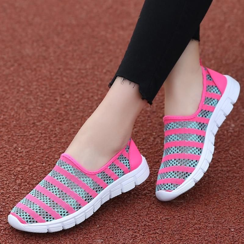 Casual Sneakers Shoes Trainers Slip On Breathable Summer Beach Women Mesh New
