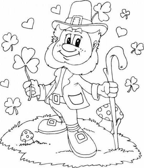 Saint Patrick\'s Day Coloring Pages - leprechaun shamrocks hearts ...