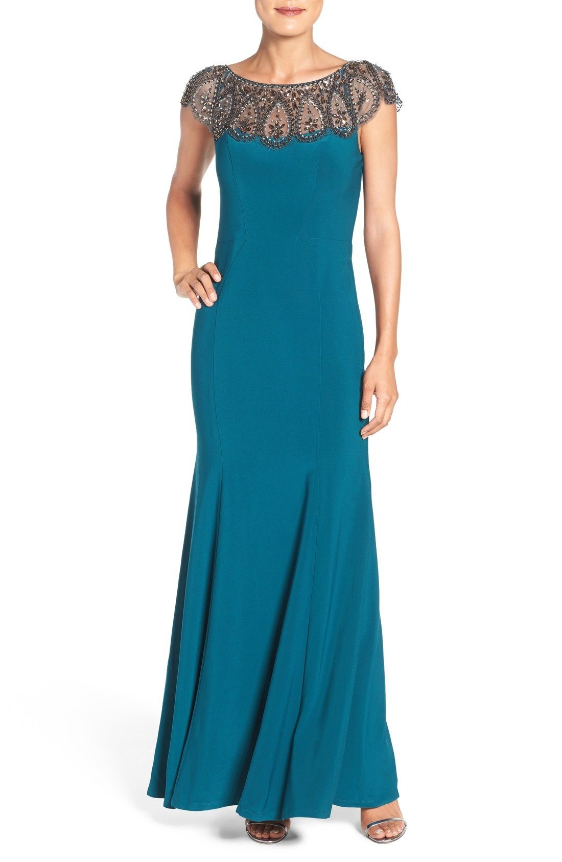 03360915 Xscape Embellished Illusion Jersey Gown (Regular | Wedding - Mother ...