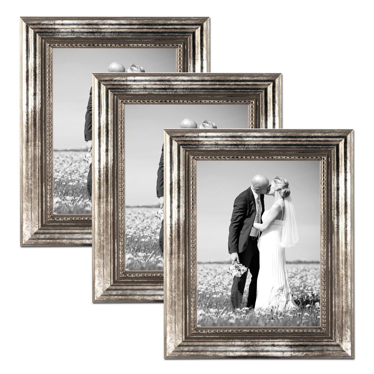 Set Of 3 Picture Frames With Dimensions Of 21x30 Cm A4 In Silver Baroque Antique Solid Wood With Glass Insert Incl Picture Frames Frame 3 Picture Frame