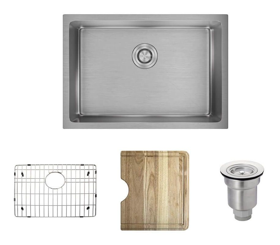 Rene By Elkay R1 1034s Rene 26 Single Basin Stainless Steel Kitchen Sink Basi Stainless Steel Stainless Steel Kitchen Sink Kitchen Sink Best Kitchen Sinks
