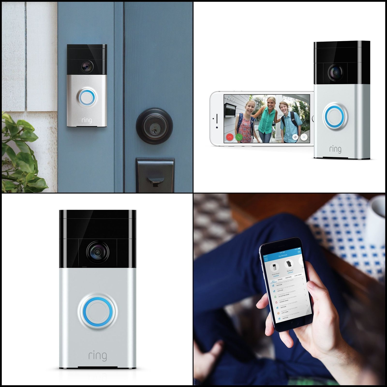 Ring Wi-Fi Enabled Video Doorbell in Satin Nickel NEW SEALED! Works with Alexa