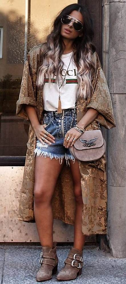 fashion trends / kimono + tee + denim shorts + bag + boots