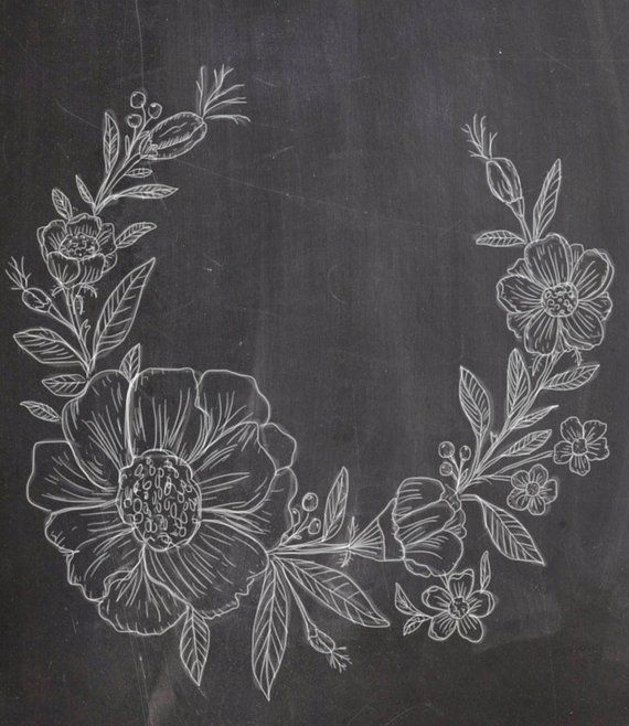 Photo of Items similar to Hand Drawn Chalkboard Flower Wreath- line drawing, flowers, plants, botanical, rustic, romantic on Etsy