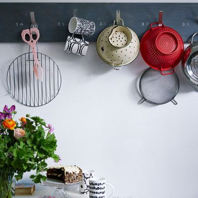 Pans Hanging From Hooks In Kitchen | Lisa Levis Real Home | Interior  Editors Choice |