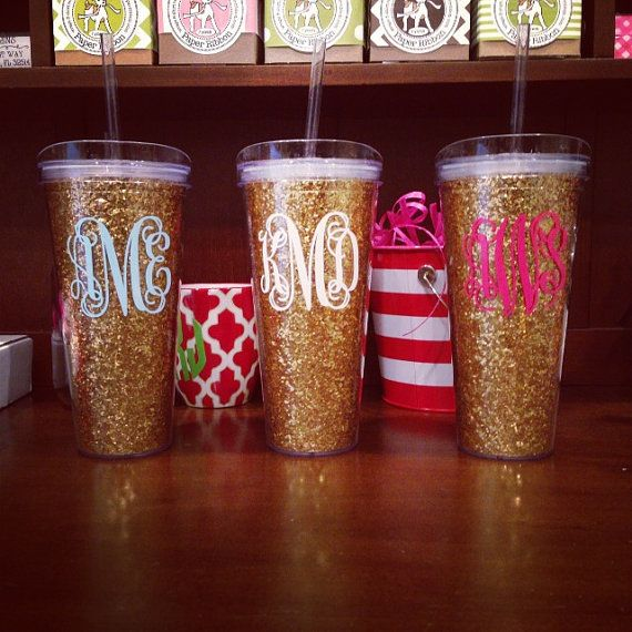 Bachey!!! Personalized Gold Glitter -22 Oz. Double Wall Acrylic Tumbler With Straw