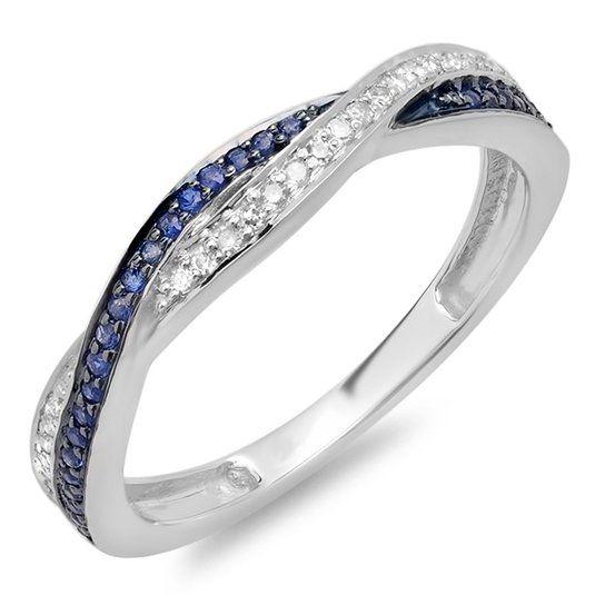 Amazon.com: 10K Gold Round White Diamond & Blue Sapphire Ladies Stackable Anniversary Wedding Band Swirl Ring: Jewelry