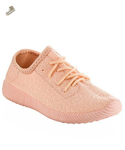 9148750c88743 Qupid Women's Fashion Light Weight Low Top Lace Up Knit Slip On Sneaker  PINK (9) - Qupid sneakers for women (*Amazon Partner-Link)