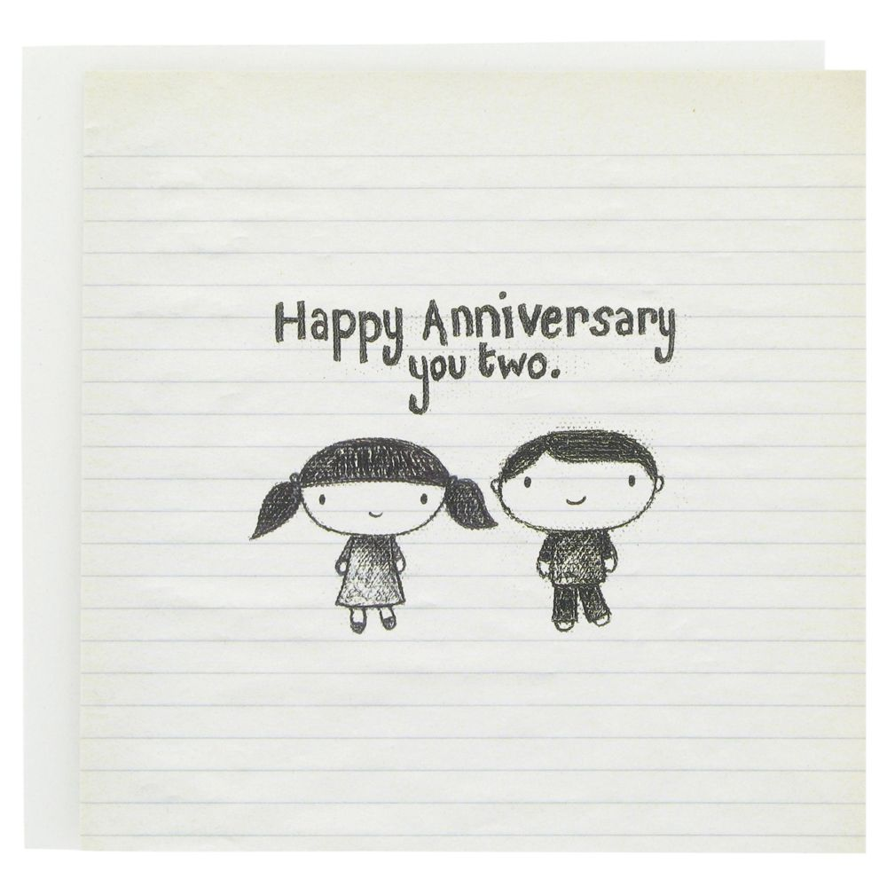 Happy Anniversary Card With Cute Hand Drawn Couple And Text Happy Anniversary You Tw Happy Anniversary Quotes Happy Anniversary Funny Anniversary Quotes Funny