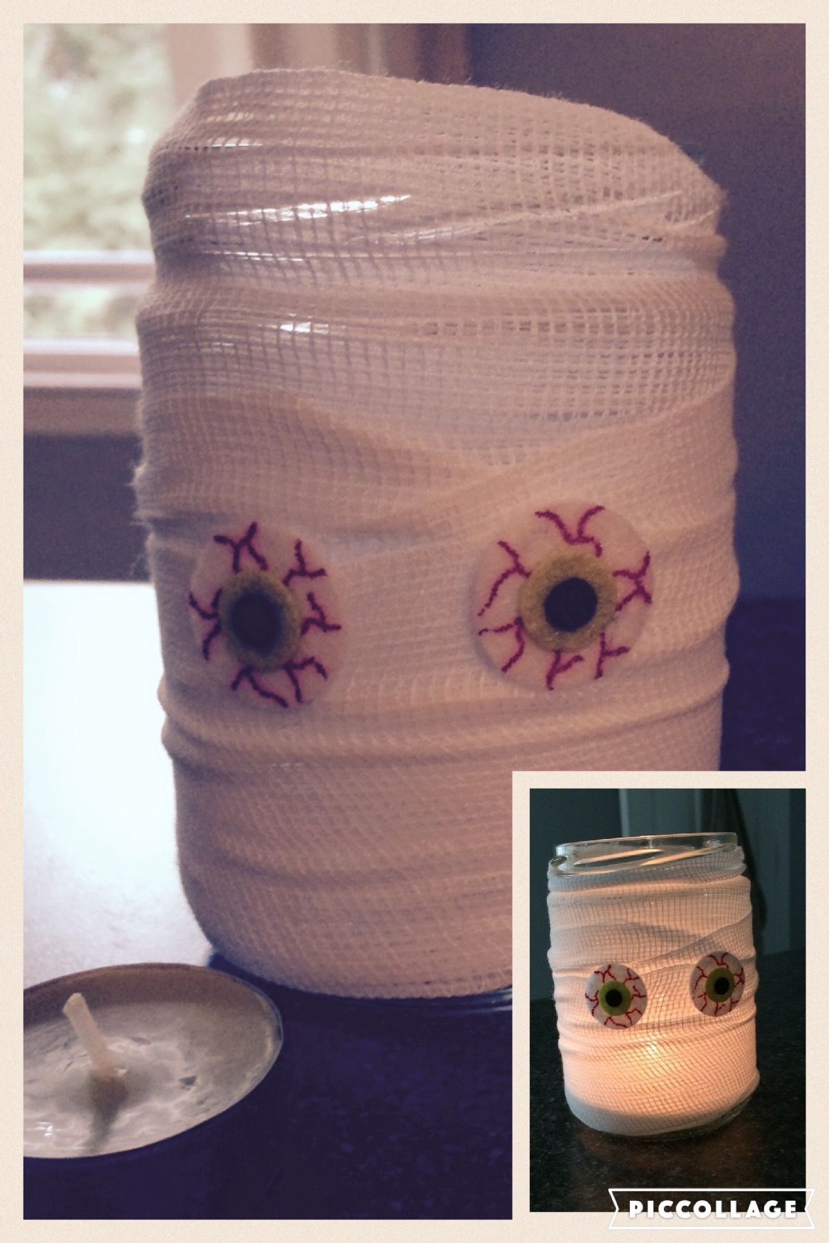We did this at work today - Halloween #craft - super easy! #DIY    Supplies  -Mason jar or glass jar  -gauze  -glue  -eyeball stickers     Wrap gauze around jar and glue ends. Stick on eyes. light candle and your done!