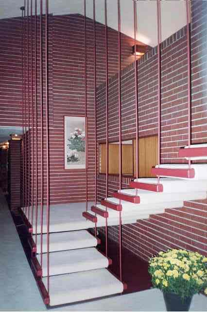 Staircase In Frank Lloyd Wright Home In South Bend, IN