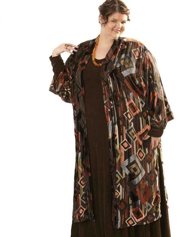 Plus Size Special Occasion Kimono Coat Silk Velvet Burnout Deco