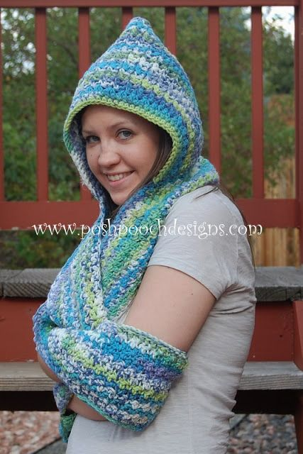 Scoodie Hooded Scarf With Pockets Free Crochet Pattern 1