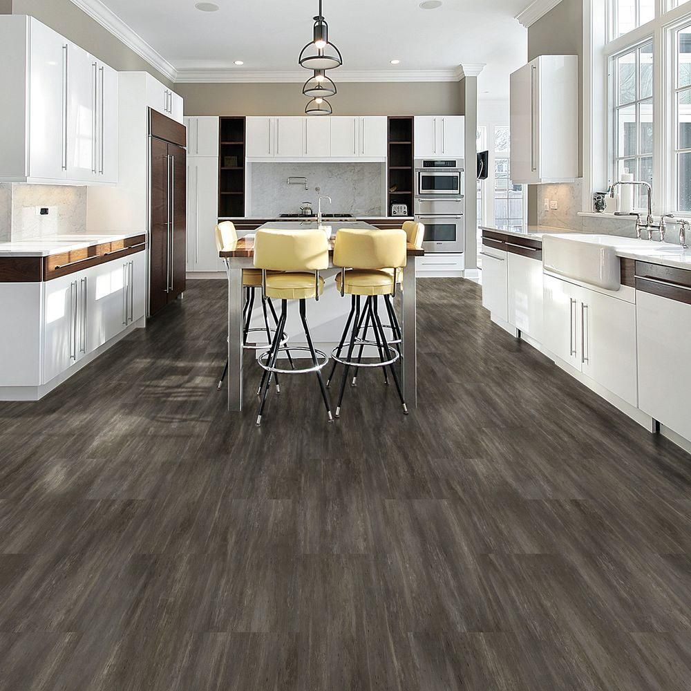Incroyable TrafficMASTER Allure Charcoal Beton Resilient Vinyl Tile Flooring   4 In.