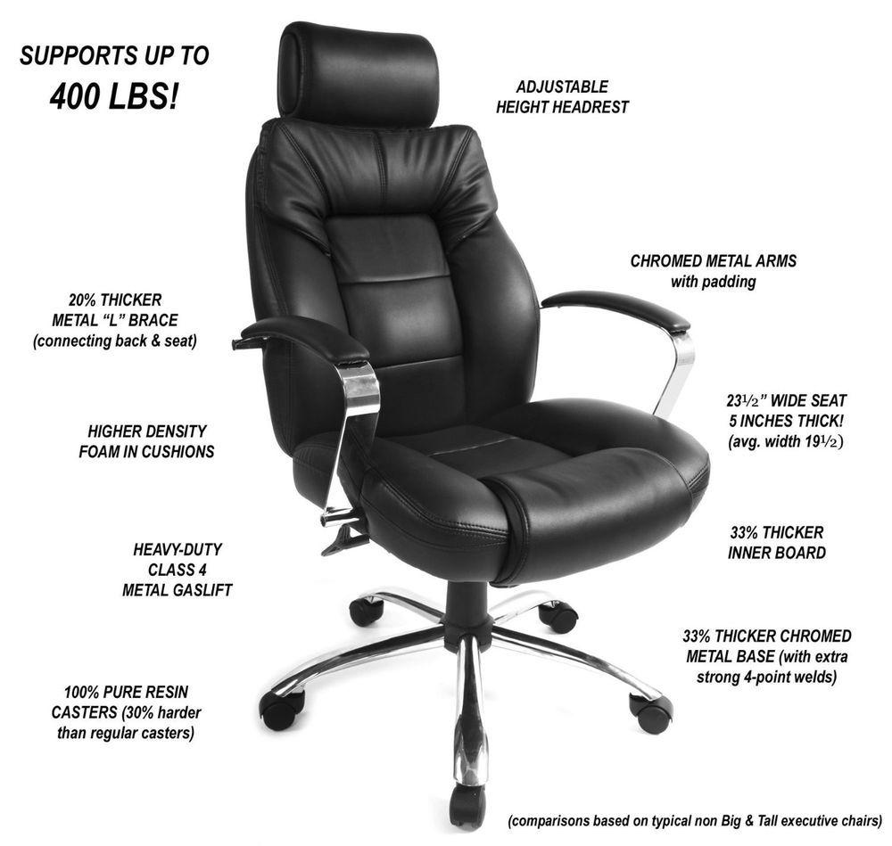 Big Tall Oversize Office Chair 400 Lbs Capacity Wide Seat