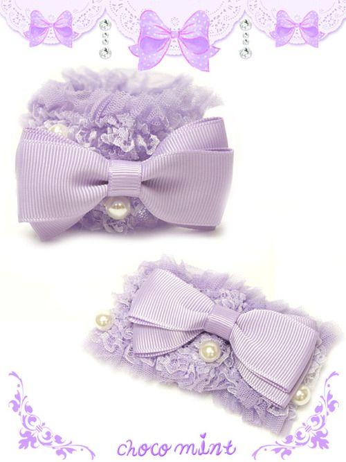 Chocomint pastel ribbon race chou chou (lavender purple)