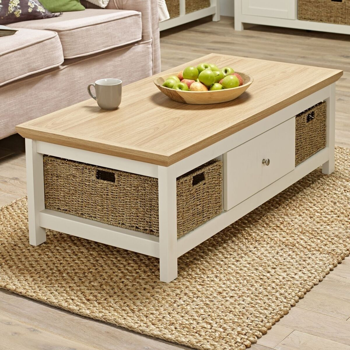 Cream Painted Oak Coffee Table With Single Drawer And Wicker