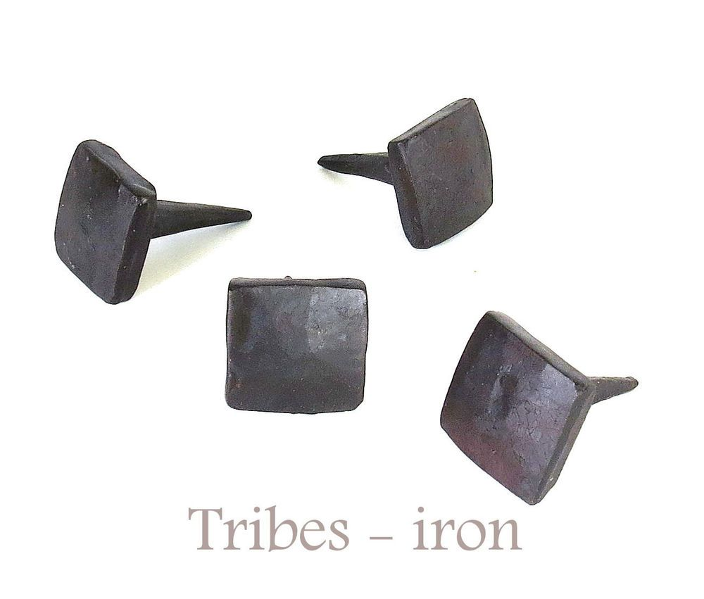 Lot Of 4 Handmade 3 4 Square Head Nails Wrought Iron Antique Door