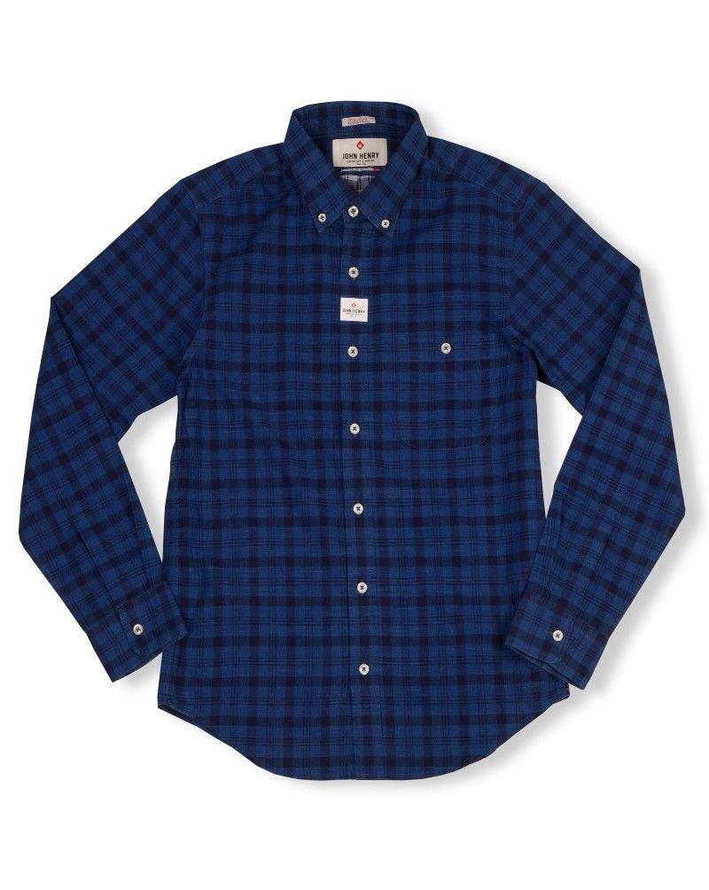 John Henry | เสื้อเชิ้ตแขนยาว จาก John Henry รุ่น JHS0277A ลายตารางสีน้ำเงินเข้ม | TheOutlet24 created by #ShoppingIS