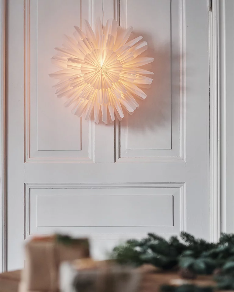 Photo of Lys opp med snøblomst-julestjernen mot en dør
