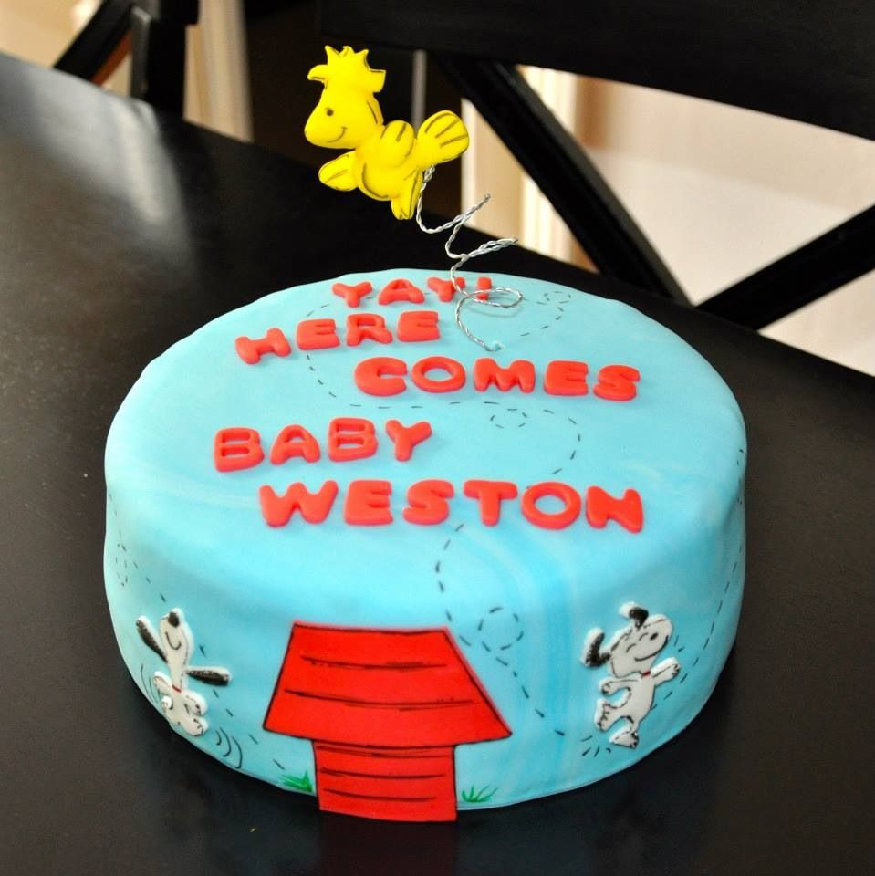 Snoopy baby shower cake I like the Woodstock on the spring Can