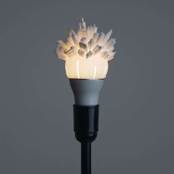 Huddle 3d Printed Light Bulb With A City Sprouting Out Of The Top Painting Lamp Shades Rustic Lamp Shades Painting Lamps