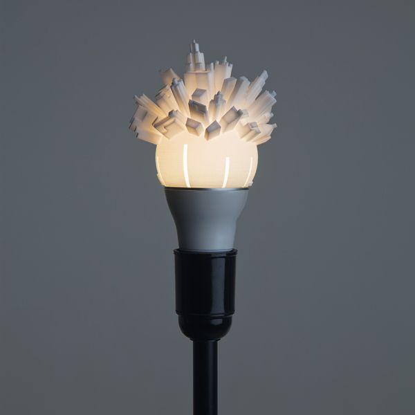 3D printed Cityscape lightbulbs