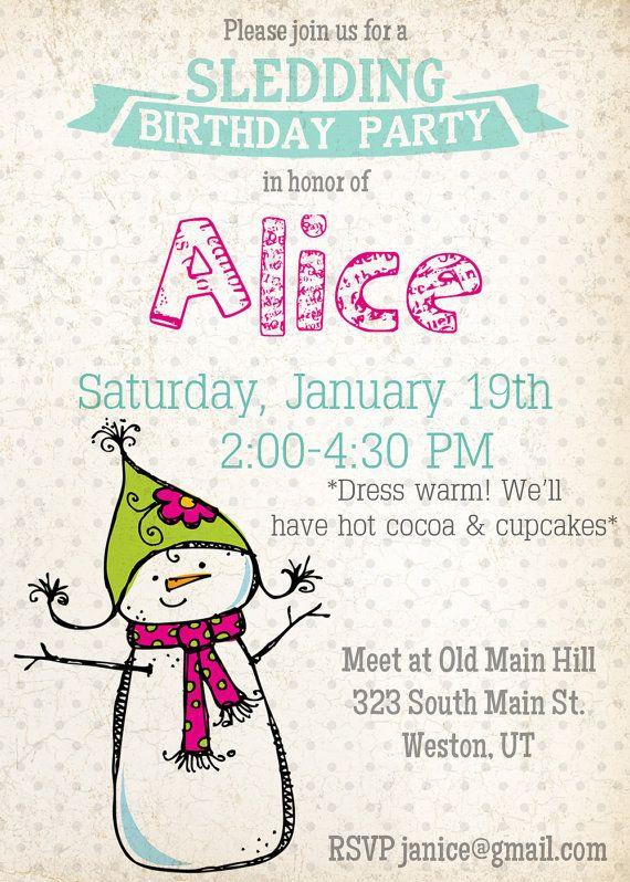 Snowman sledding birthday invitation winter theme birthday party