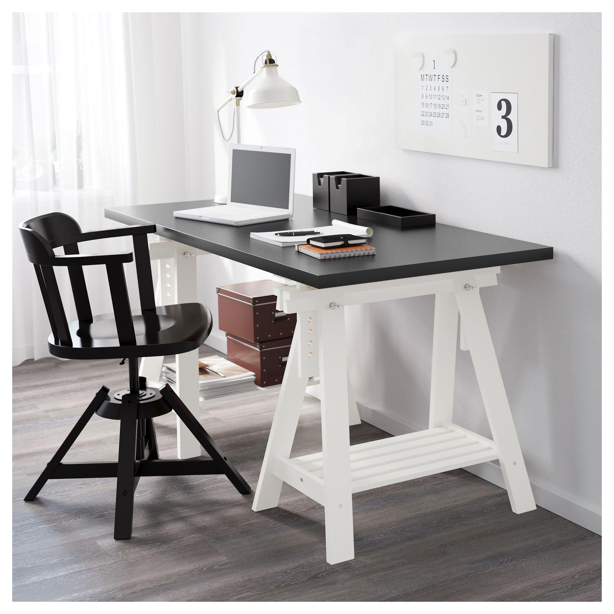IKEA FINNVARD Trestle with shelf white Trestle desk
