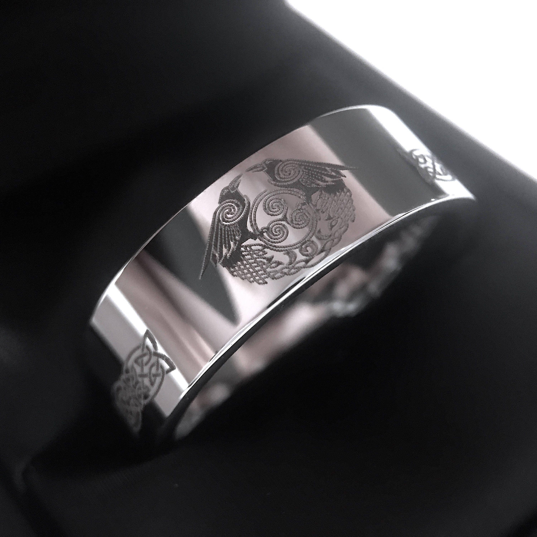 Raven Celtic Knot Ring Celtic Wedding Band Love Knot Ring Mens