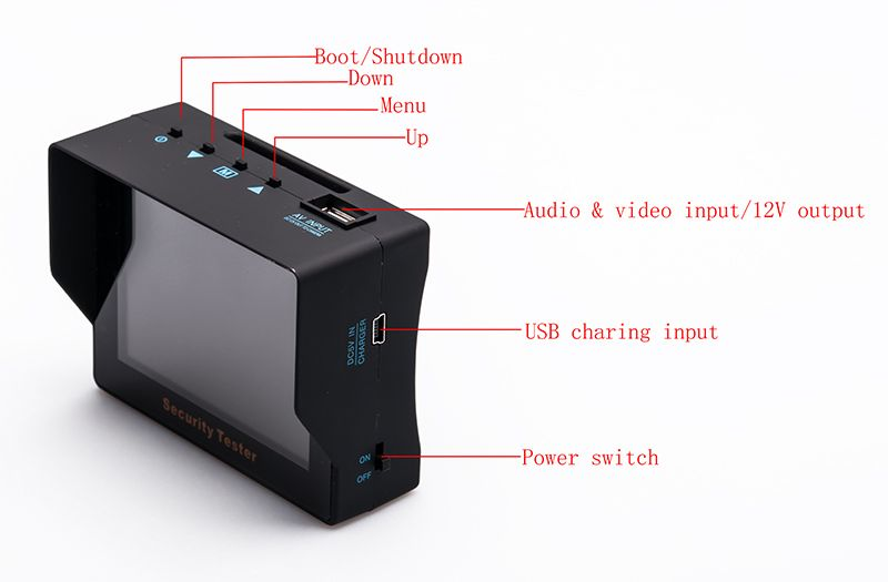 CCTV Tester - 3.5 Inch Monitor LCD Screen, Low, Power Warning Support, Wristband Design, NTSC/PAL