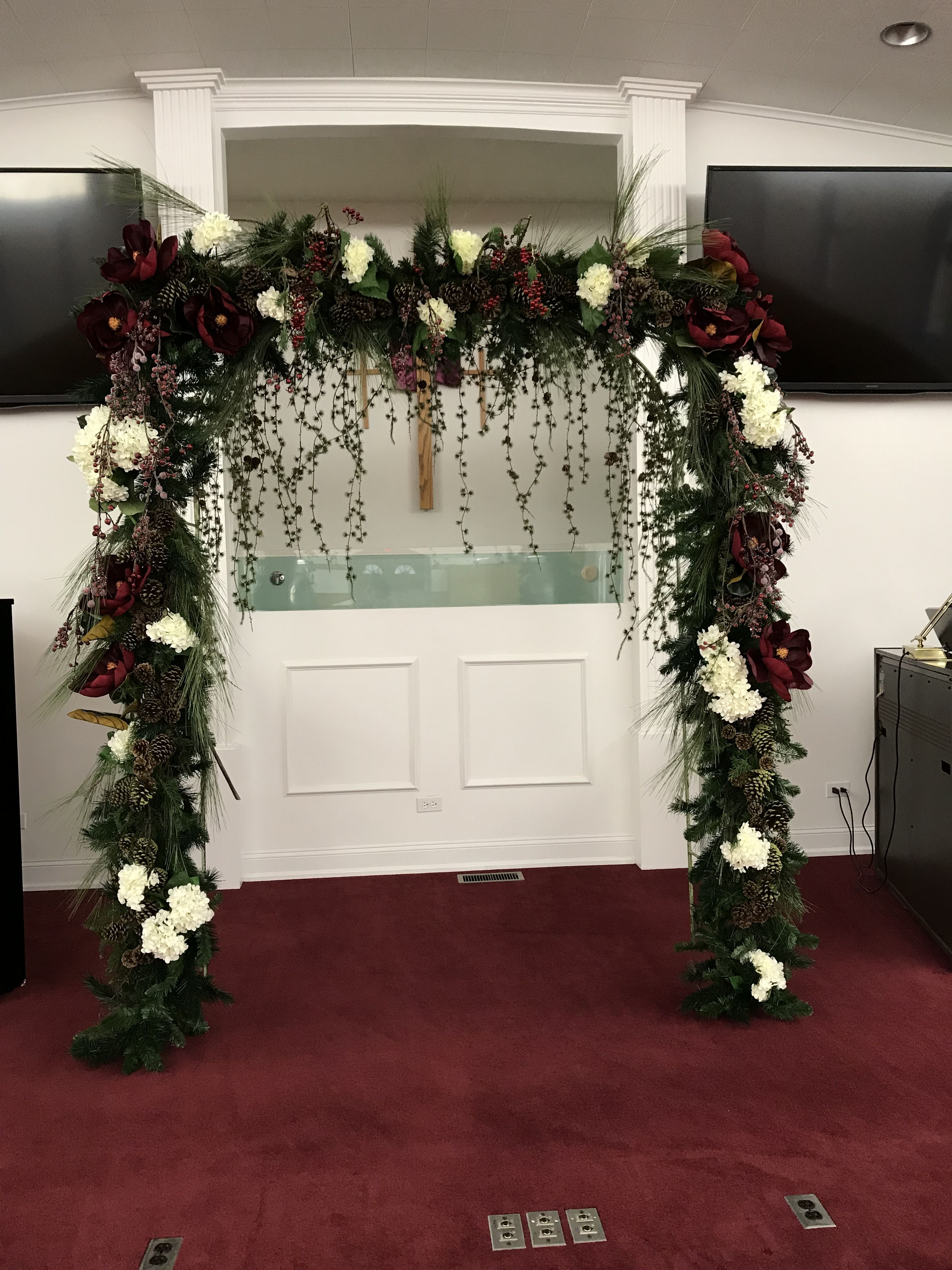 Beautiful Winter Wedding Arch Decorated For You Decorated Wedding Rentals Available For You Flowers By Ta Winter Wedding Arch Wedding Arch Wedding Rentals