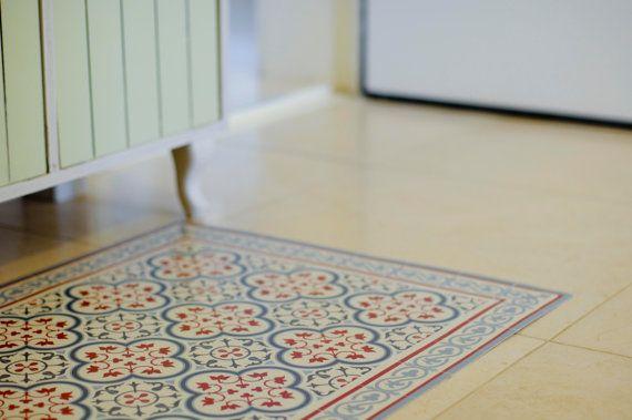 Bordeaux Green Pvc Vinyl Mat Oriental Maroccan Design Etsy Vinyl Rug Vinyl Flooring Tile Patterns