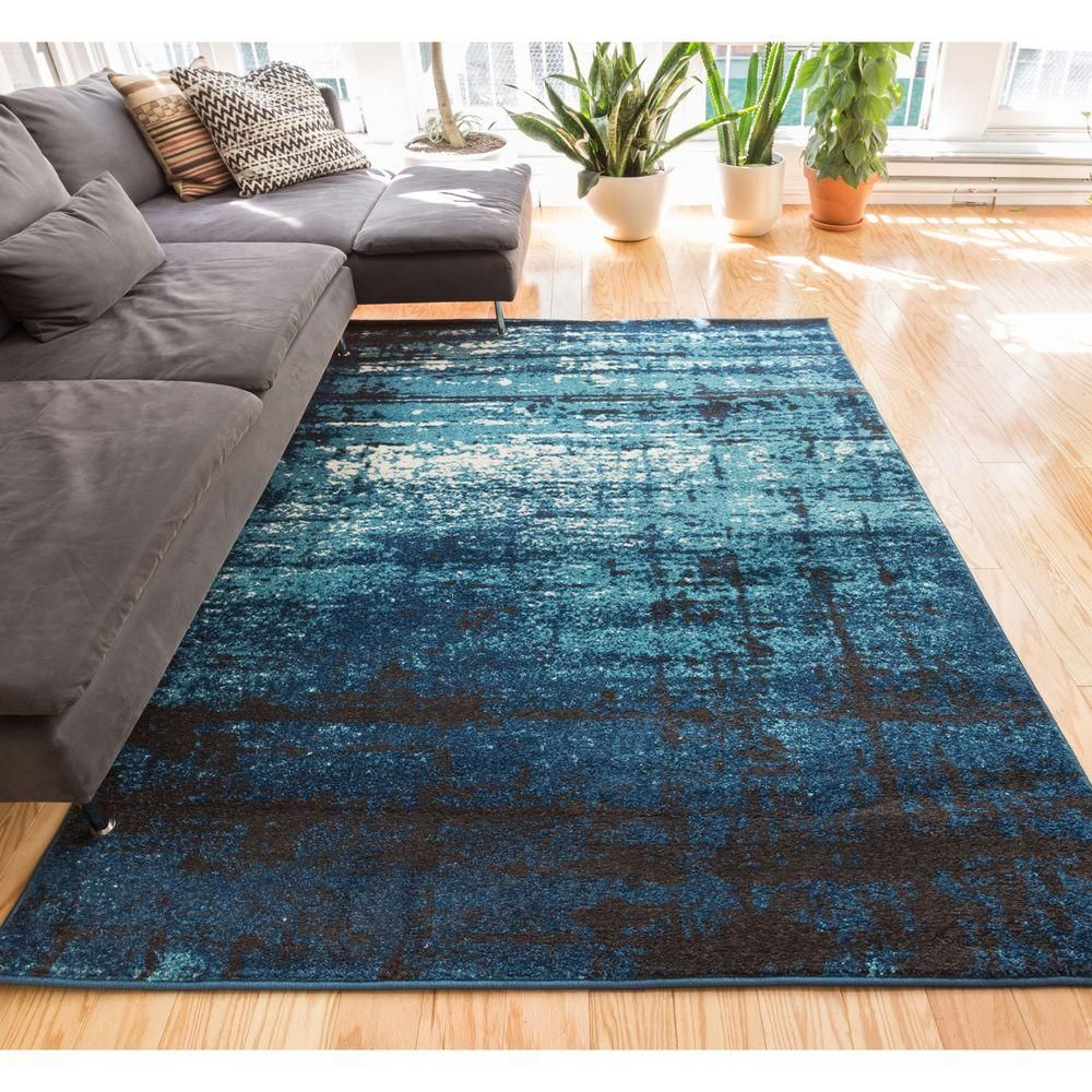 Sydney Vintage Crosby Blue 7 Ft 10 In X 6 Modern Distressed Area Rug