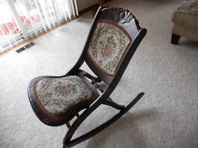 Folding Rocking Chair Wood Round Back Dining Chairs Early 1900 S Antique Nice
