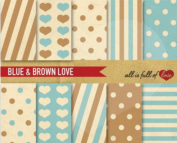 Background Brown Blue Digital Clipart Paper Kit Geometric Patterns Printable Digital Background Paper Vintage Paper Background Scrapbook Patterns