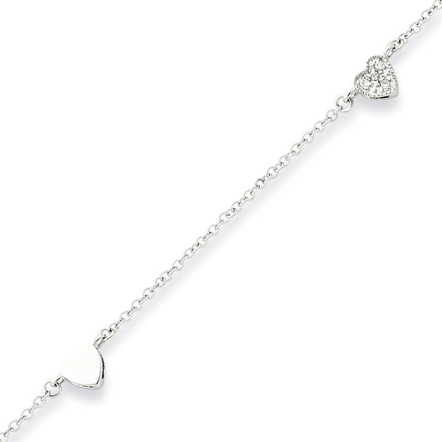 zirconia over rhodium with anklet cubic pin pave could heart sterling more silver be info